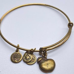 Alex & Ani Gold tone Apple Bangle Bracelet